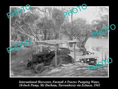 Old Historic Photo Of International Harvester & Farmall A Tractor & Pump 1941