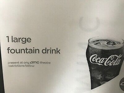 TEN (10) Large Fountain Drinks at AMC Theatre Theater Tickets - INSTANT DELIVERY