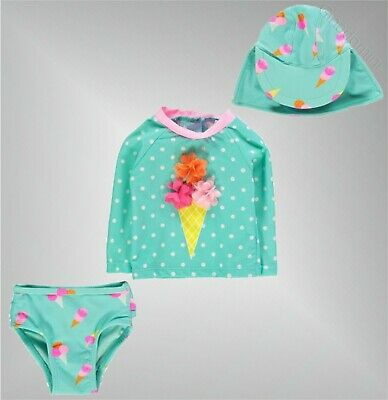 3 Piece Girls Branded Crafted Top Briefs Hat Mini SunSafe Suit Age 0-24 Mnth