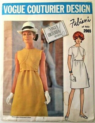 Vtg 1960s FABIANI Dress Vogue Couturier Design Sewing Pattern 2065 with Label