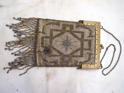 Vintage Hand Beaded Seed Bead Art Deco Clutch Coin Change Purse Hand Bag
