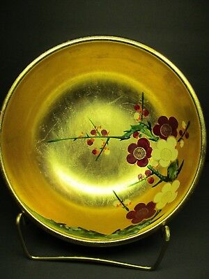 Japanese Plum Blossom Gold Leaf Lacquered Bowl  Gold Leaf Painted flowers Gilt