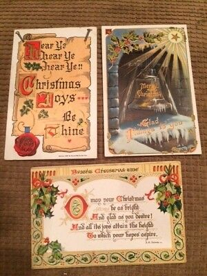 Postcard 3 Victorian Merry Christmas 1909 Holly Floral Bell Star  Vintage