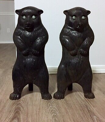 """ANTIQUE Vintage Pair CAST IRON BEAR Fireplace Andirons Glass Eyes 17"""" Tall"""