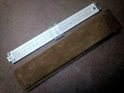 Vintage 1959 PICKETT N 1010-T Metal Trig Slide Rule +RARE Soft Tan Leather Case!