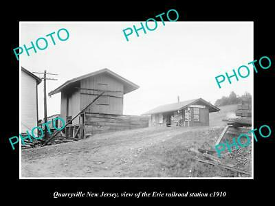 Old Large Historic Photo Of Quarryville New Jersey, Erie Railroad Station 1910 1