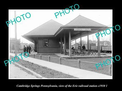 Old Historic Photo Of Cambridge Springs Pennsylvania, Erie Railroad Depot 1910 2