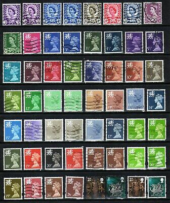 Collection of Wales regional definitives - all different (GU/FU)