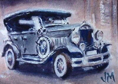 "Aceo Original  Watercolor Painting collectible art card""Antique Car""Fine Art"