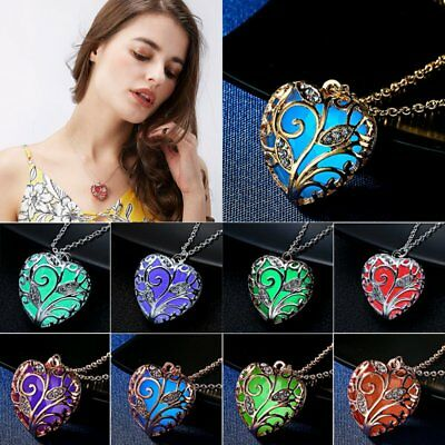 Retro Glow In The Dark Heart Pendant Necklace Chain Luminous Magical Women Gift