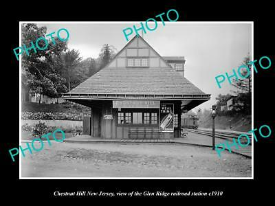 Old Large Historic Photo Of Chestnut Hill New Jersey G/r Railroad Station 1910 2