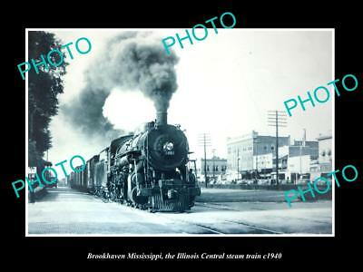 Old Large Historic Photo Of Brookhaven Mississippi, Illinois Central Train 1940