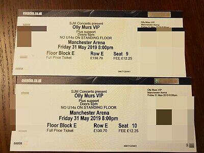 X2 VIP Concert Tickets Olly Murs Friday 31st May 2019 Manchester Arena