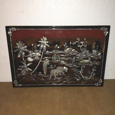 """Vintage Asian Oriental Black Lacquer & Mother of Pearl Wall Plaque 24"""" x 16"""""""