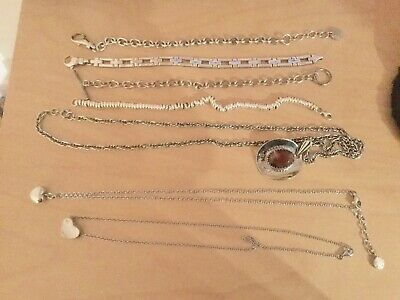 Job Lot Of Three Sterling Silver Necklaces And Four Sterling Silver Bracelets