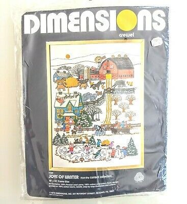 "NEW Dimensions JOYS OF WINTER ~ Crewel embroidery kit ~ #1120 ~ 18"" x 24"" ~"