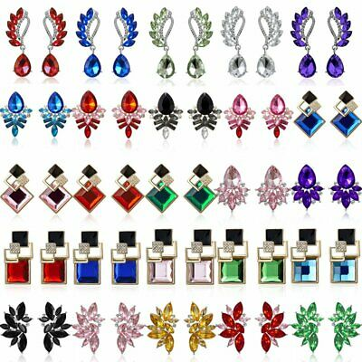 Fashion Rhinestone Crystal Wing Flower Ear Stud Drop Earrings Charm Women's Gift