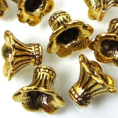 20 Antique Golden Pewter Petal Bell Flowers Caps Beads 9x10mm