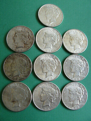 (10) Raw VF-AU Peace Silver Dollars, 1922, 1923, (9) with mint marks
