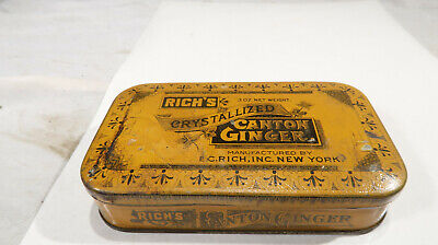 Rich's 3 Oz Crystallized Canton Ginger Orange Tin Box