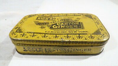 Rich's 3 Oz Crystallized Canton Ginger Yellow Tin Box