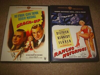 Crack-Up + Rancho Notorious DVD LOT Warner Archive Collection Western Film Noir