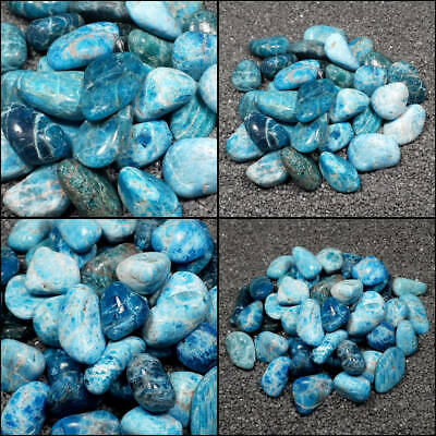 "Blue Apatite Tumble Polished Crystal Stone, Sizes 0.8 to 1.5"", Your Choice"