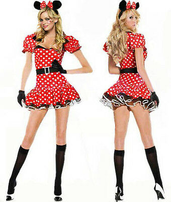 Sexy Halloween Mujer Chica Minnie Mouse Disfraz S M L