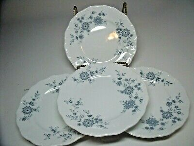 4 BAVARIAN BLUE CHRISTINA Porcelain Seltmann Weiden W. Germany SALAD PLATES