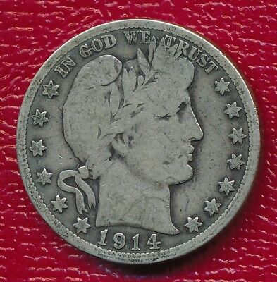 1914-S Barber Silver Half Dollar **very Good Coin** Free Shipping!