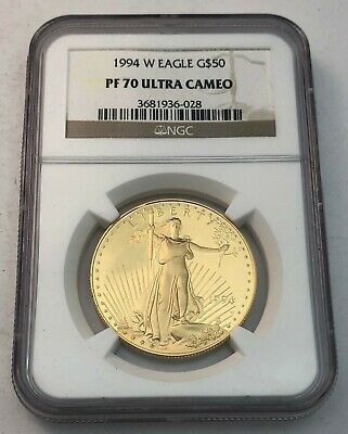 1994-W American 1 Oz $50 Proof Gold Eagle Coin NGC PF70 Ultra Cameo