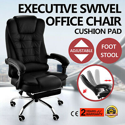 Home Office Desk Chair Computer PU Leather Luxury Home Black Executive Swivel