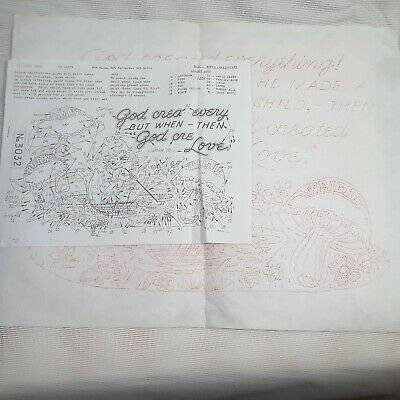 Vintage Tri Chem Pattern Fabric 3032 Baby Birth Certificate Record Mushrooms