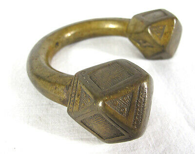 Antique African 17th-19th C Slave Bracelet Manilla Currency Bronze Tuareg#11 yqz