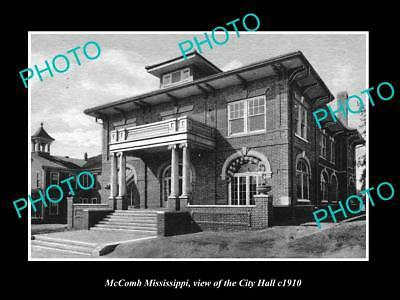 OLD LARGE HISTORIC PHOTO OF McCOMB MISSISSIPPI, VIEW OF CITY HALL c1910