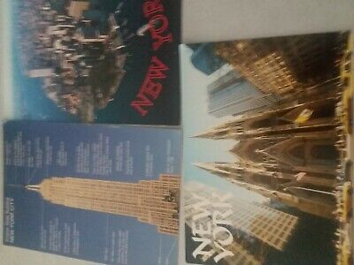 """Postcards New 3 USA NEW YORK CITY Empire, St. Cathedral Unposted 6.5"""" x 4.5"""""""
