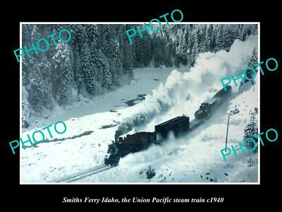 Old Large Historic Photo Of Smiths Ferry Idaho, Union Pacific Steam Train 1940
