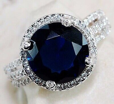 Must Have 2CT Blue Sapphire & Topaz 925 Solid Sterling Silver Ring Jewelry Sz 9