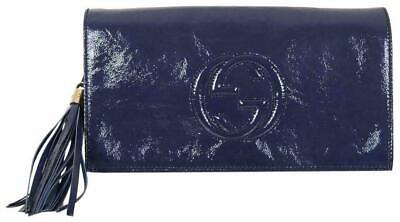 6034f6098 GUCCI SOHO NAVY Blue Patent Leather GG Clutch Bag Purse - $595.00 ...