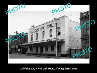 OLD LARGE HISTORICAL PHOTO OF ADELAIDE SA, ROYAL OAK HOTEL, HINDLEY St 1941