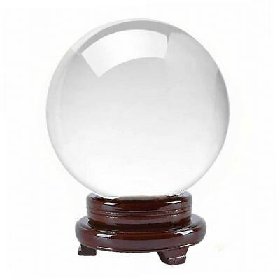 Clear Crystal Ball Quartz w/ Wood Stand ( 80 mm - 200 mm ) Healing Sphere