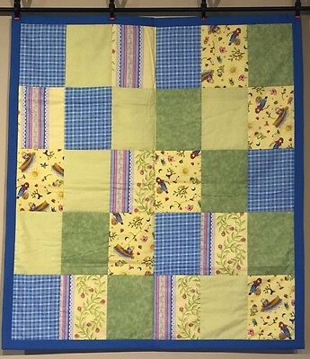 NEW Unisex Country Baby Quilt Boys Girls Flowers Green Yellow Blue Handmade NEW