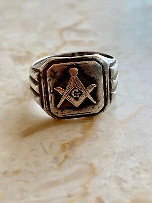 0863bc7e39948 VINTAGE MASON RING with Sterling Silver and Gold - Freemason Masonic Size-9