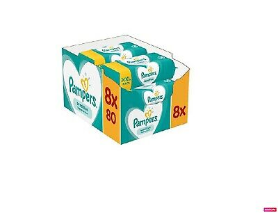 Pampers Sensitive Protect Baby Wipes 3, 5 or 8 x80 Packs Wet Wipes
