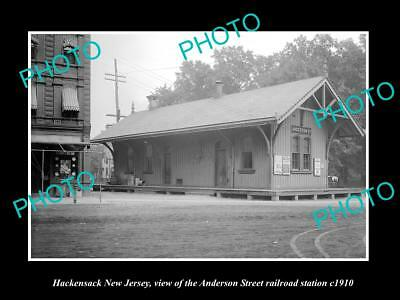 OLD HISTORIC PHOTO OF HACKENSACK NEW JERSEY, A/S ERIE RAILROAD STATION c1910 1