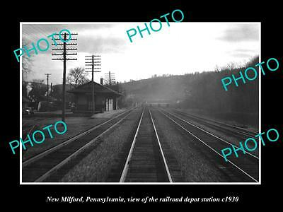 Old Large Historic Photo Of New Milford Pennsylvania Railroad Depot Station 1930