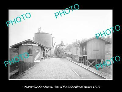 Old Large Historic Photo Of Quarryville New Jersey, Erie Railroad Station 1910 2