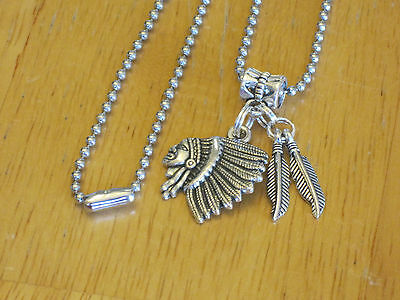 Men's Mexican Aztec/Mayan/Indian Chief Pendant Necklace Silver-Tone w/Feathers