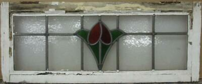 "OLD ENGLISH LEADED STAINED GLASS WINDOW TRANSOM Gorgeous Floral Design 32"" x 13"""