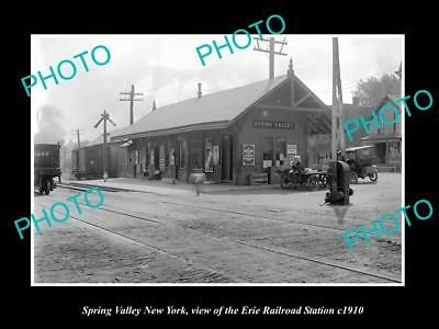 Old Large Historic Photo Of Spring Valley New York, Erie Railroad Station 1910 2